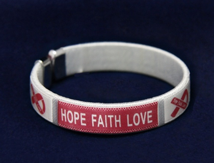 Burgundy Ribbon Hope Faith Love Bangle Bracelets